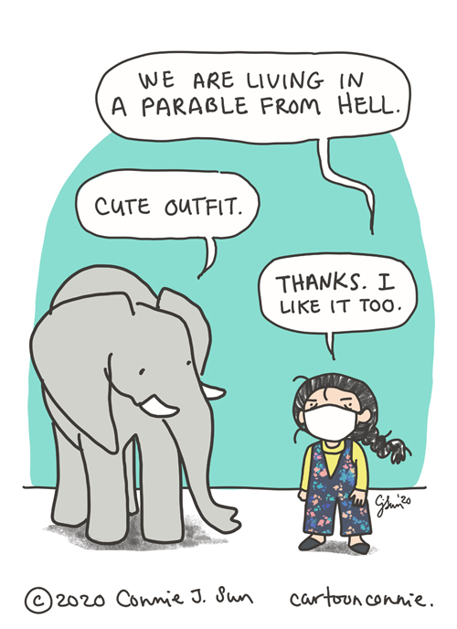 elephant comic illustration by connie sun, cartoonconnie