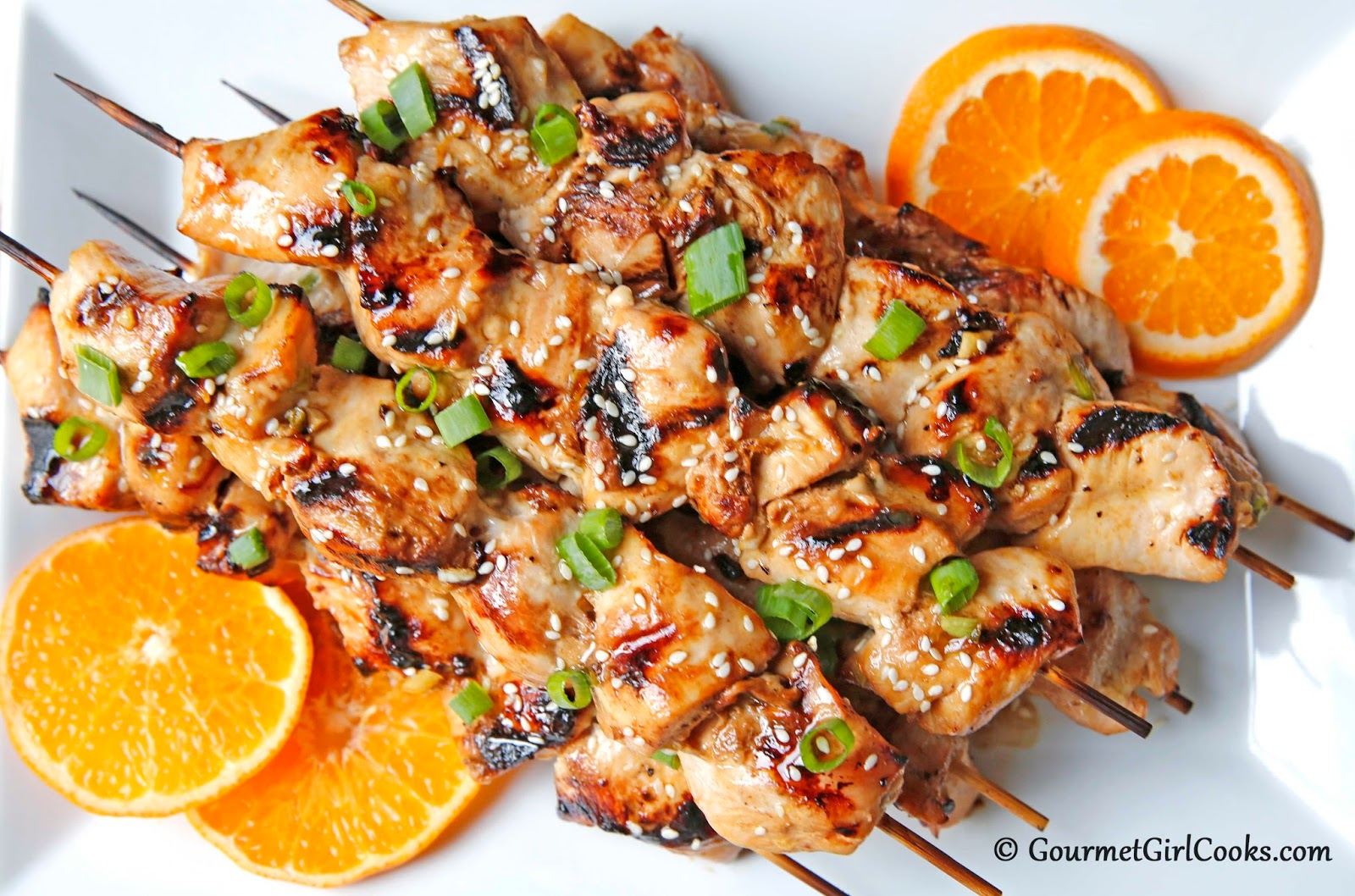 Gourmet Girl Cooks Grilled Asian Style Chicken Kabobs