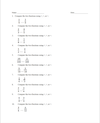Free comparing fractions worksheets