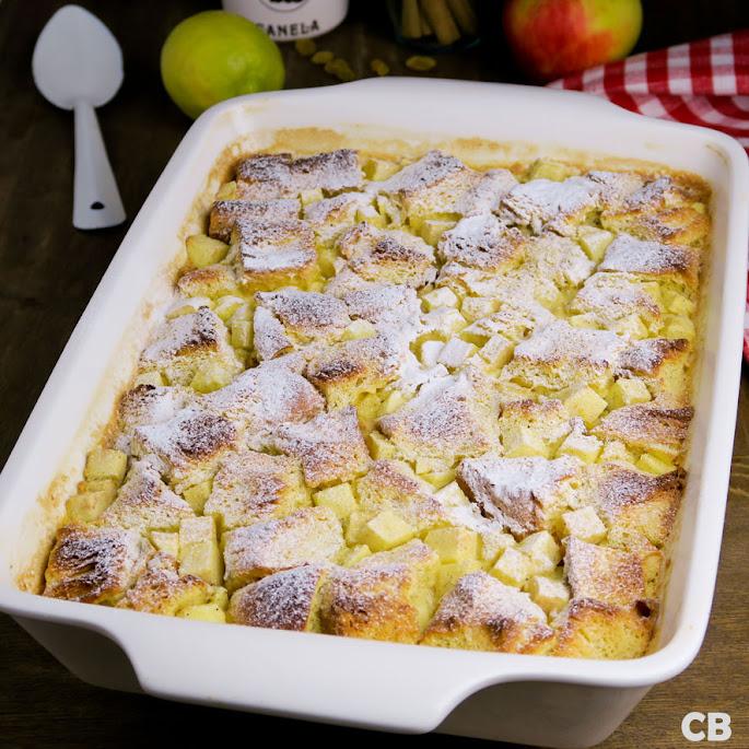 Recept Feestelijke briochepudding met appeltjes en rozijnen