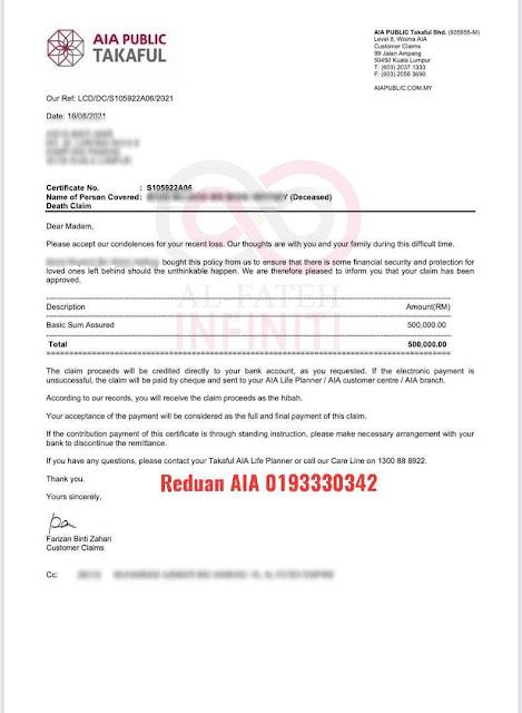 Claim Hibah Covid 19 AIA Public Takaful