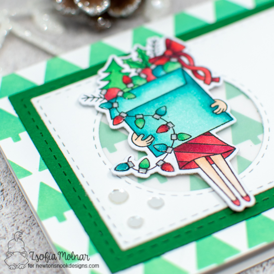 Slimline Christmas Card by Zsofia Molnar | Christmas Haul Stamp Set, Christmas Trimmings Stamp Set, Tiny Trees Stencil and Slimline Die Sets by Newton's Nook Designs