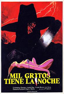 PIECES, MIL GRITOS TIENE LA NOCHE, giallo, tronçonneuse, Juan Piquer Simon, affiche, poster
