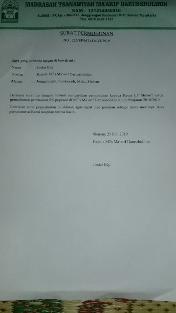Contoh Surat Permohonan Penerbitan SK Pegawai Madrasah
