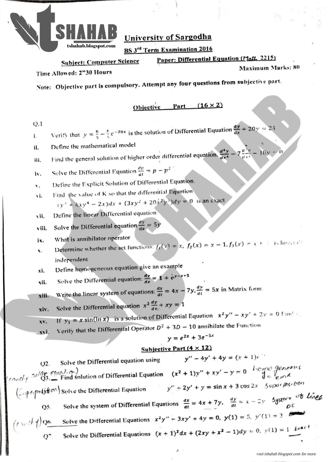 Differential Equations Past Papers & Solutions