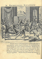 An engraving that depicts Spaniards overthrowing indigenous leadership