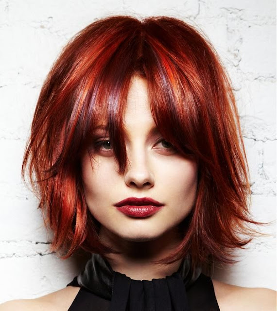 Stylish Red Shaggy Hairstyle