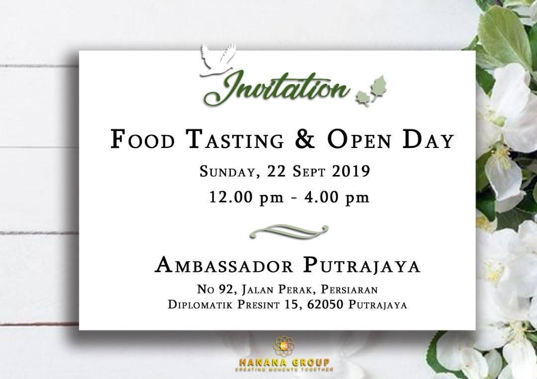 Bakal Pengantin Jom Datang Ke Food Tasting & Open Day Ambassador Putrajaya Pada 22 September Ini!
