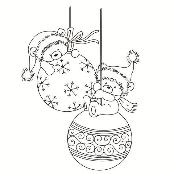 Hình tô màu đèn Noel và những chú gấu nhỏ