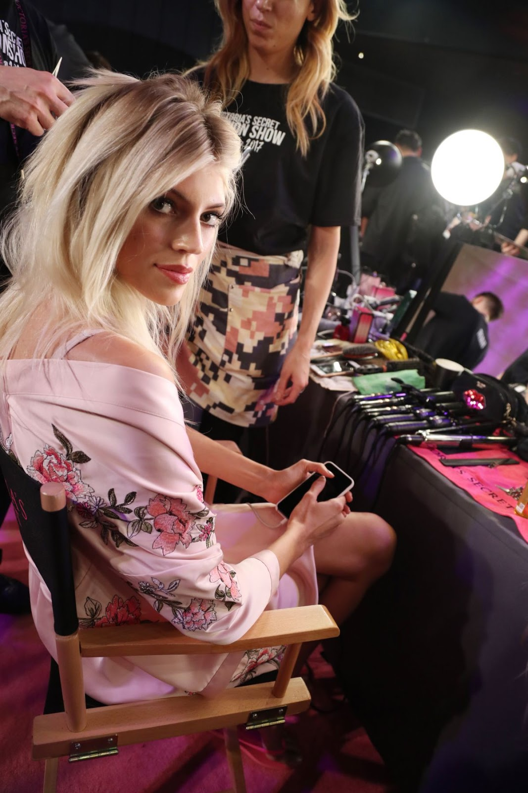 Devon Windsor on the Backstage at 2017 Victoria's Secret Fashion Show in Shanghai