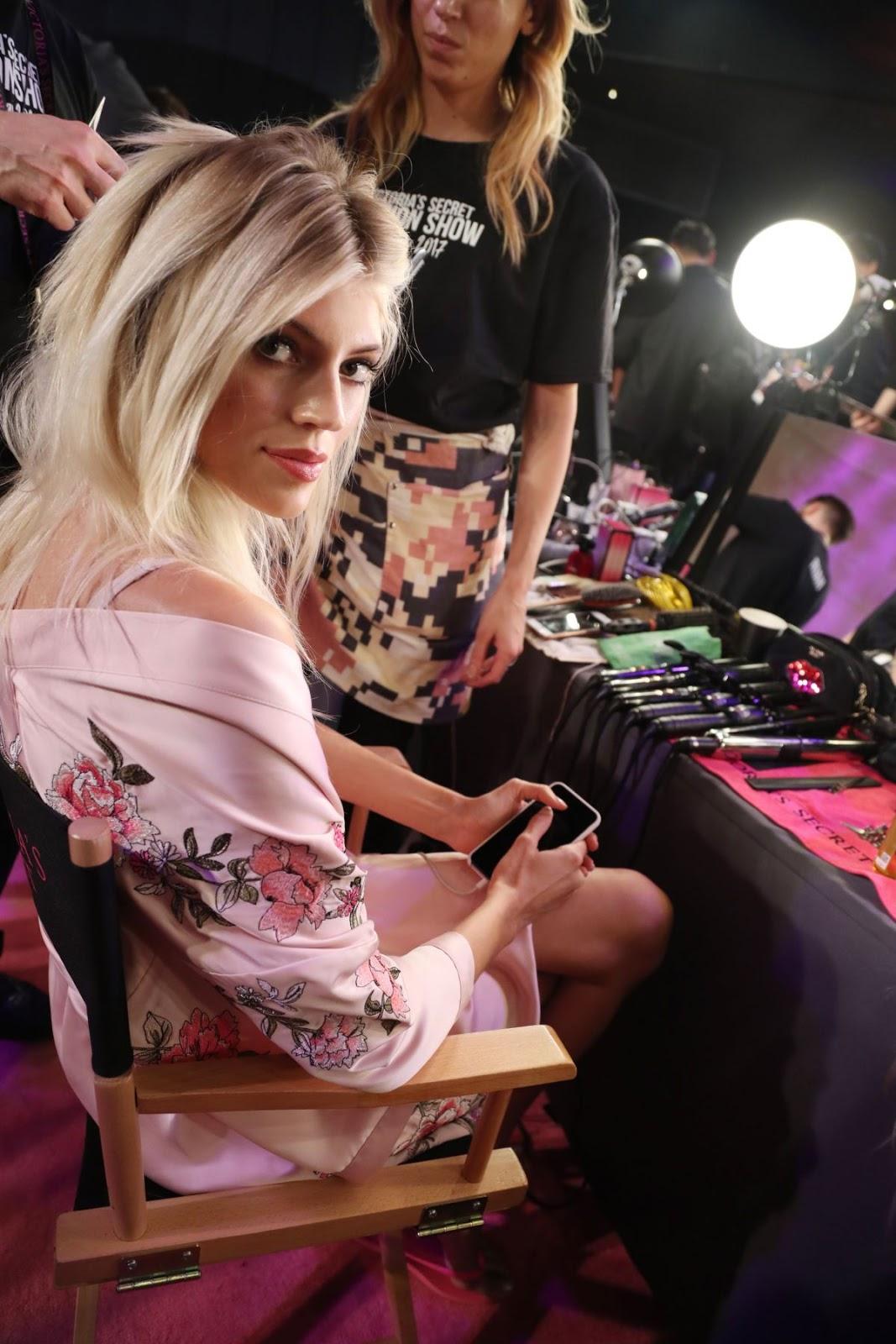 Devon Windsor on the Backstage at 2017 Victoria's Secret Fashion Show in Shanghai