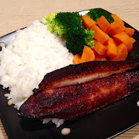Healthy Baked Honey Soy Fish with Steamed Rice and Veggies