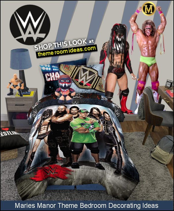 wrestling bedding WWE wall decals WWE toys wrestling pillows wrestling bedroom decor