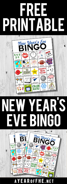 Check out this free printable NEW YEARS EVE BINGO! Comes with 6 different cards! Kids will love doing this on New Year's Eve! #NewYearsEve #Bingo #Printable
