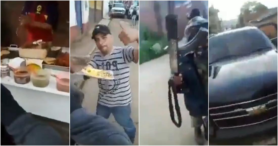 """""""Vine a comprarme unos 'taquillos'"""", Con el fusil en una mano y en la otra unos buenos tacos, así se graban sicarios en Michoacán"""