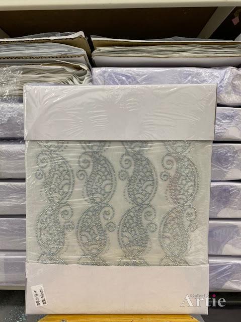 Pelekat hotfix sticker rhinestone DMC aplikasi tudung bawal fabrik pakaian corak daun besar