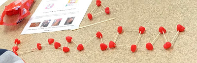 Candy Heart & toothpick literacy activity, valentine's day literacy activity