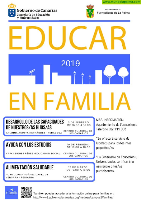 Fuencaliente comienza mañana martes con el programa 'Educar en Familia'