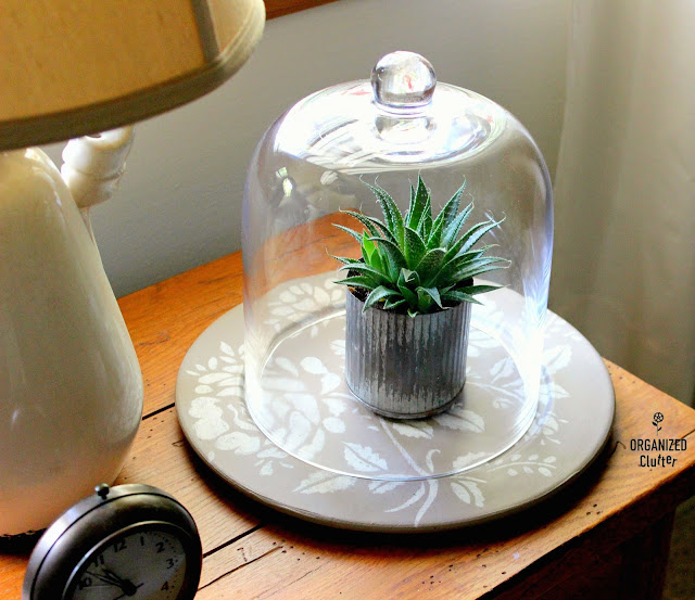 Garage Sale Platter Upcycle As A Cloche Base