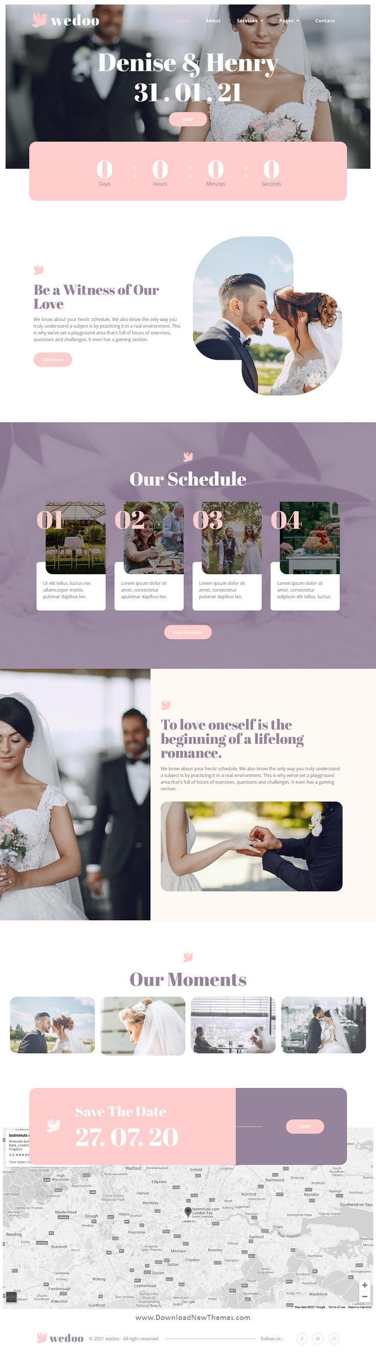 Online Wedding Invitation Elementor Template Kit