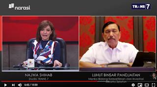 Jleb! Luhut Tuduh Mata Najwa Tayangkan Provokasi, Dibalas Najwa: Saya Hanya Tayangkan Fakta
