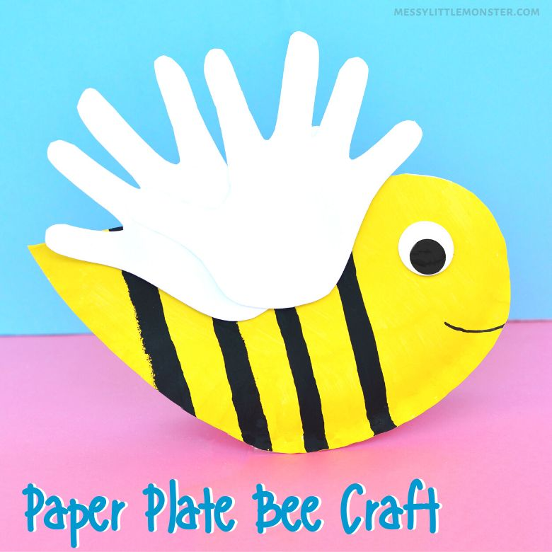 Spring crafts for kids - paper plate bee craft