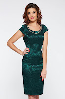 Rochie verde-inchis eleganta tip creion din jaquard