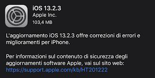Apple rilascia iOS 13.2.3