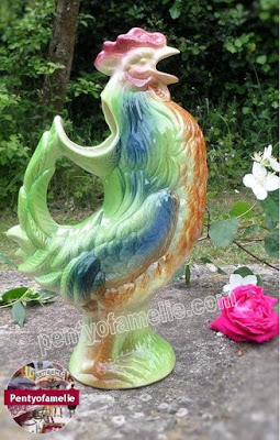 vintage french majolica Tall colorful Rooster jug, awesome St Clement pottery Barbotine cockerel pitcher