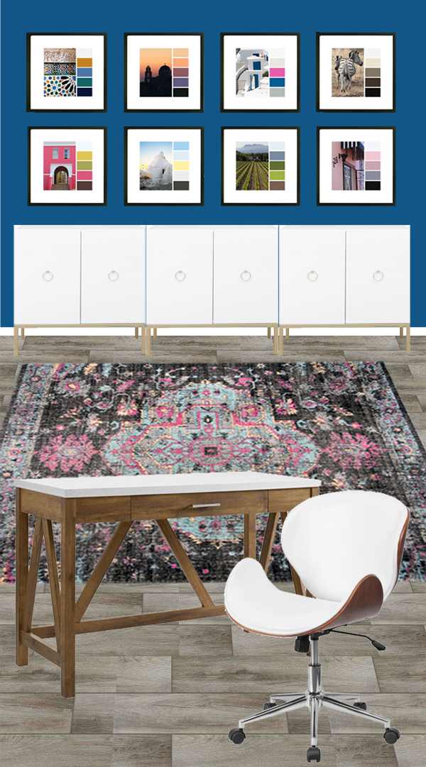 Office Decor Ideas for Her with blue walls and pink and black rug