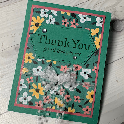 A floral Thank You card using Stampin' Up! Flower & Field Designer Series Paper