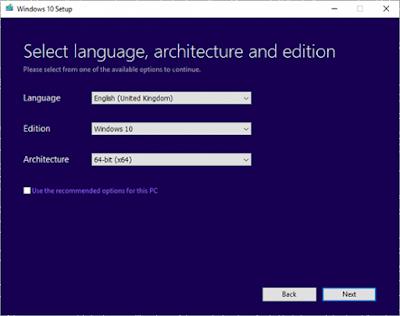 Language Windows 10 setup