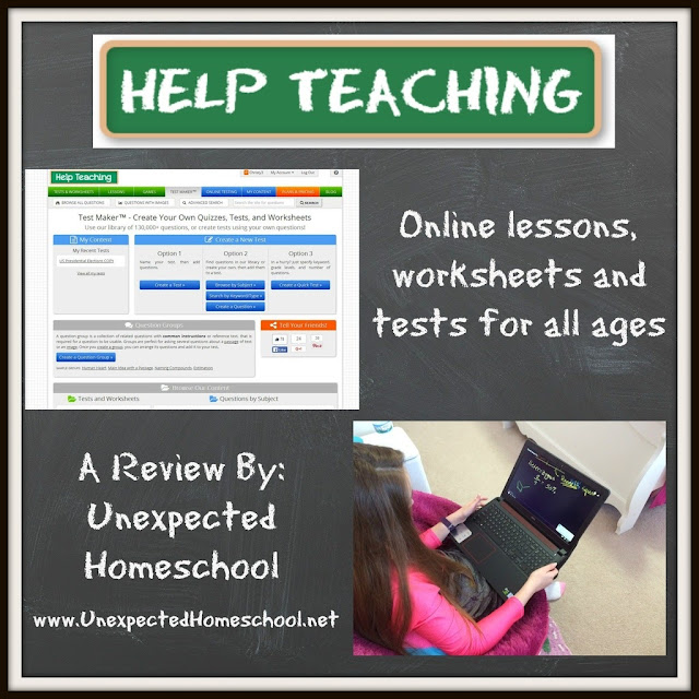 HelpTeaching.com: Online lessons, tests, and worksheets that make homeschooling fun.