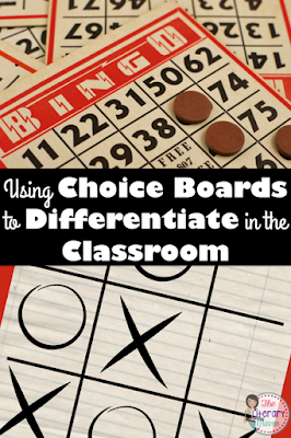 Meet your students' varying needs with motivating student through choice by using choice boards in the classroom to differentiate during novel units, homework assignments, author studies, and other units of study.