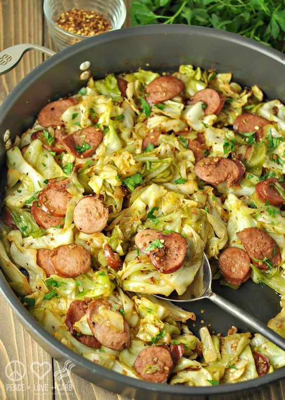 LOW CARB FRIED CABBAGE WITH KIELBASA #recipes #tasty #tastyrecipes #food #foodporn #healthy #yummy #instafood #foodie #delicious #dinner #breakfast #dessert #lunch #vegan #cake #eatclean #homemade #diet #healthyfood #cleaneating #foodstagram