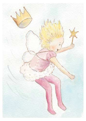 Postcard illustration of a girl with fairy costume jumping
