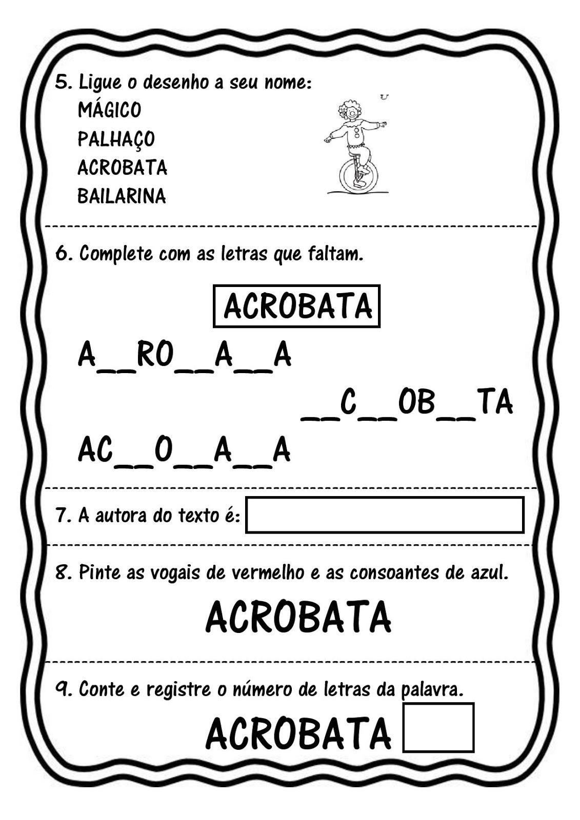 o%2Bacrobata-page-002 Leitura e interpretação 2º ano Dia do Circo