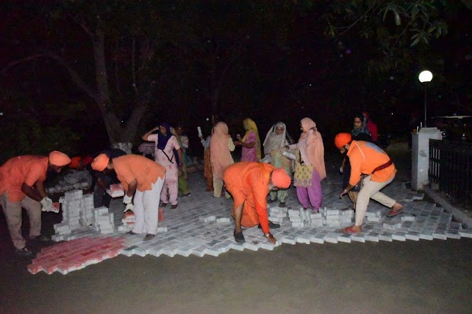 Karsewa of installation of Interlock tiles from Nanak Hut to Gurdwara Sant Ghat completed