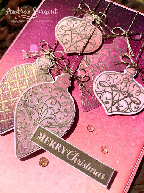 Flirty Flamingo Christmas Gleaming Stampin Up card; Andrea Sargent, Independent Stampin' Up! Demonstrator, South Australia