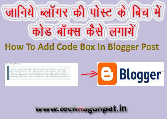 Add Code Box In Blogger