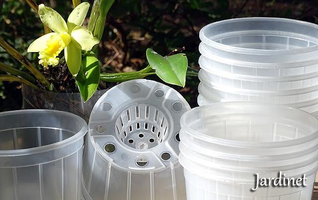 Novos vasos de plástico transparente com cone para orquídeas