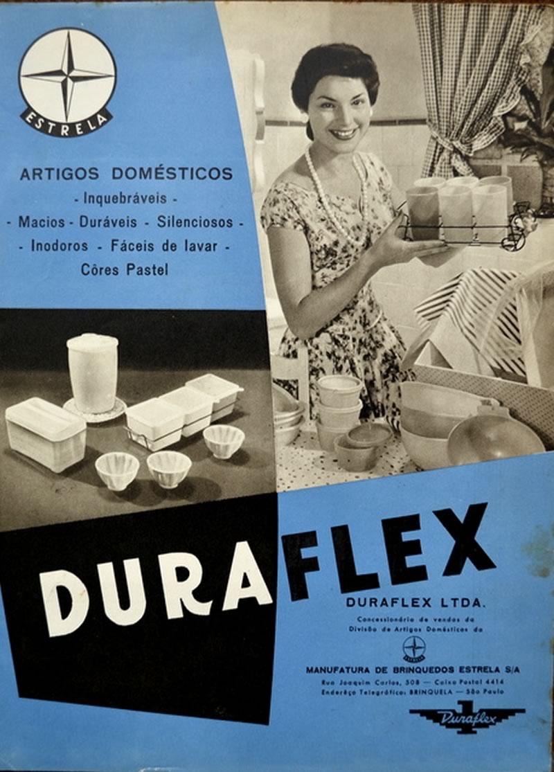 Propaganda antiga da Linha Duraflex que fazia parte da Manufatura de Brinquedos Estrela nos anos 50