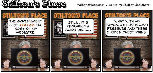 stilton's place, stilton, political, humor, conservative, cartoons, jokes, hope n' change, medicare, evil rich, government, cortez, bitch session