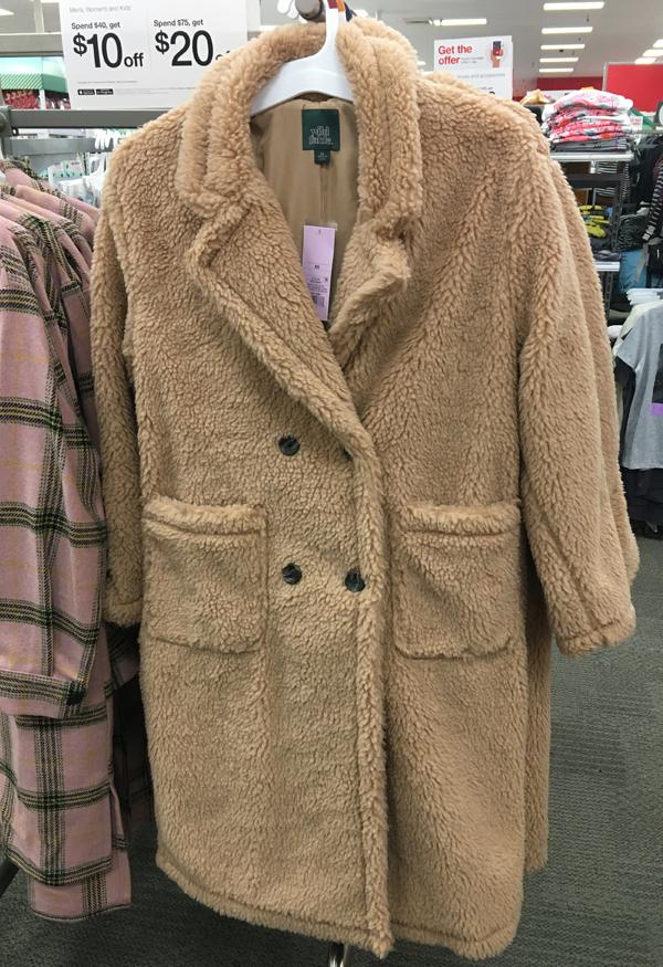 wild fable sherpa teddy coat, max mara teddy bear coat dupe