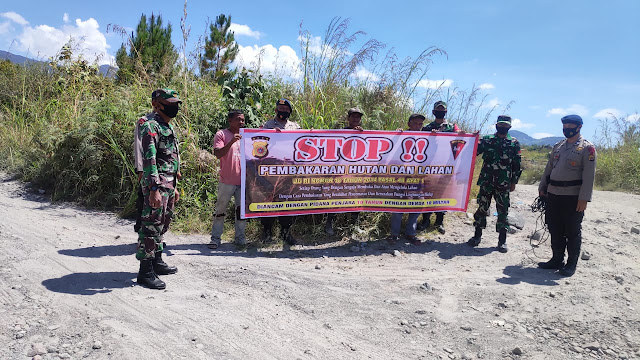 Antisipasi Karhutlah, Brimob Kompi 3 Batalyon B Bersama TNI Tingkatkan Patroli Dan Sosialisasi