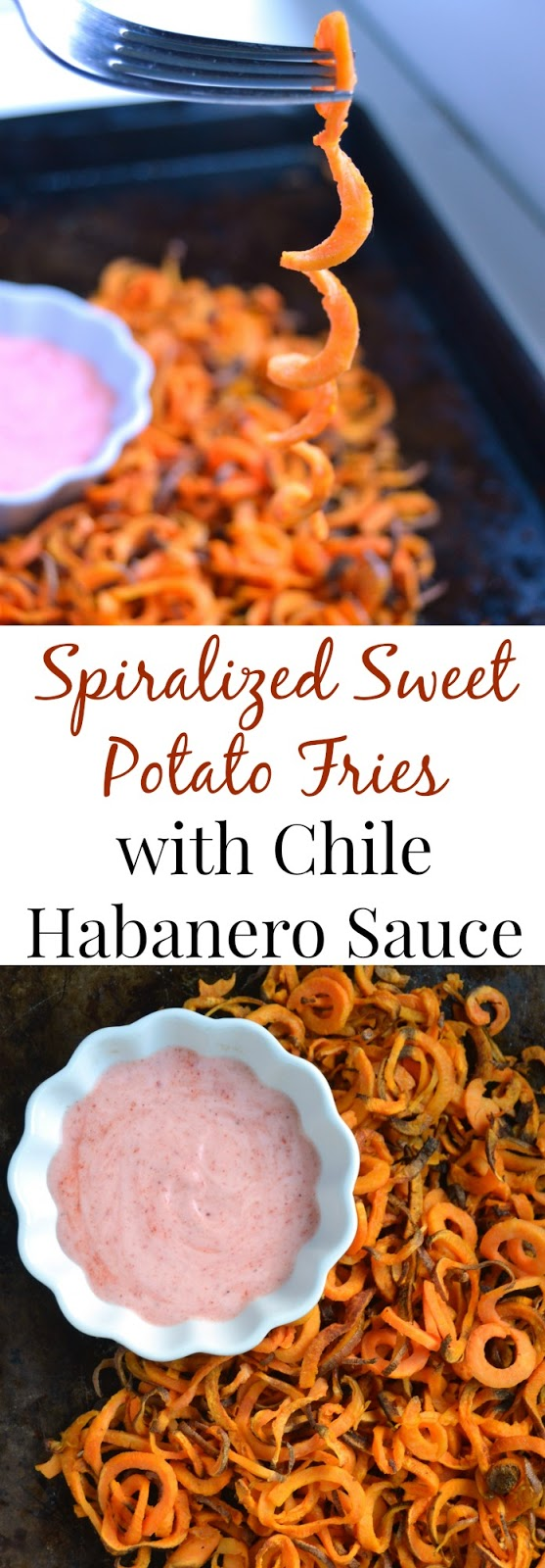 Spiralized Sweet Potato Fries with Chile Habanero Sauce- thin, crispy and make the perfect appetizer. The spicy and creamy sauce adds flavor and spice to the dish. www.nutritionistreviews.com