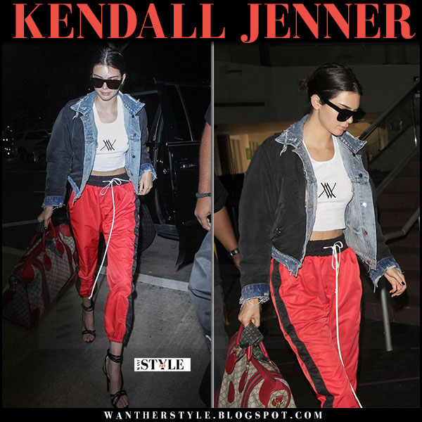 Kendall Jenner in red track pants daniel patrick and nylon and denim bomber jacket amiri what she wore may 30 2017