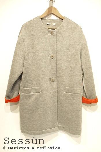 SOLDES Sessùn manteau Recoletta gris rouge