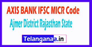AXIS BANK IFSC MICR Code Ajmer District Rajasthan State