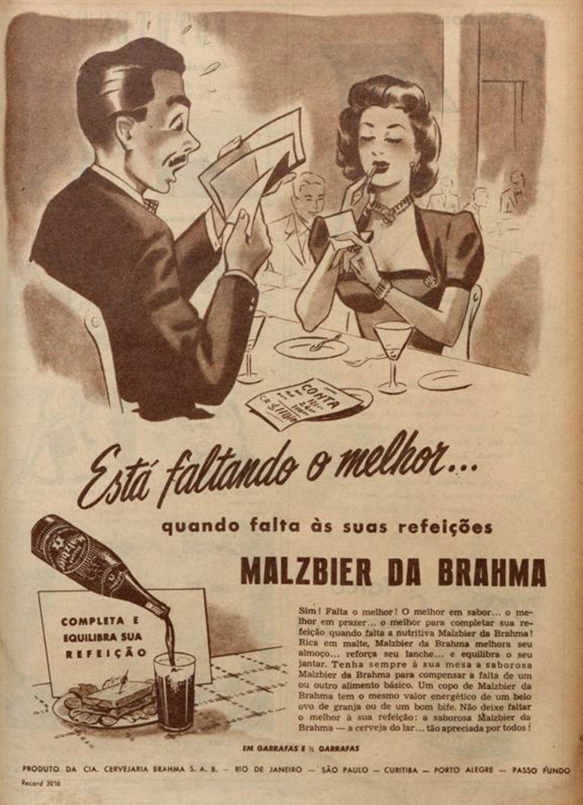 Propaganda antiga da Brahma promovendo a Malzbier em 1949